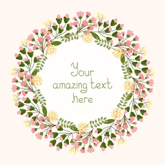 Diseño de tarjeta de felicitación con una corona floral circular de delicadas flores rosadas frescas y flor que rodea un cartucho central con copyspace para una invitación, boda o cumpleaños, ilustración vectorial