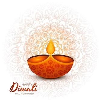 Diseño de tarjeta de felicitación decorado con fondo de festival de lámparas de aceite iluminadas