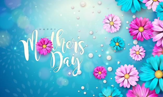Diseño de tarjeta de felicitación del día de la madre feliz con flor y letra de tipografía sobre fondo azul. plantilla de ilustración de celebración para pancarta, folleto, invitación, folleto, cartel.