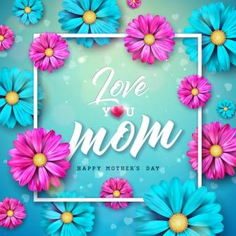 Diseño de tarjeta de felicitación del día de la madre feliz con flor y letra de tipografía sobre fondo azul.