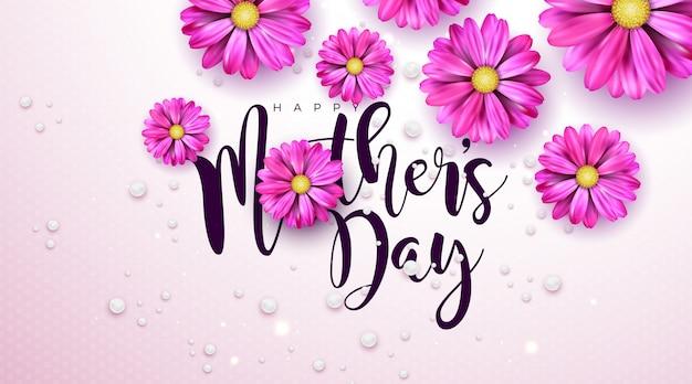 Diseño de tarjeta de felicitación del día de la madre feliz con flor y letra de tipografía