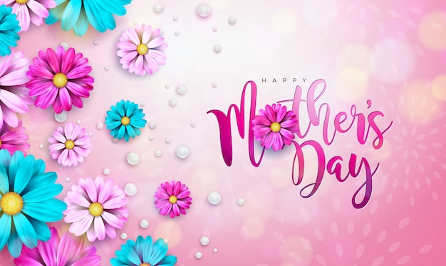 Diseño de tarjeta de felicitación del día de la madre feliz con flor y tipografía letra sobre fondo rosa.