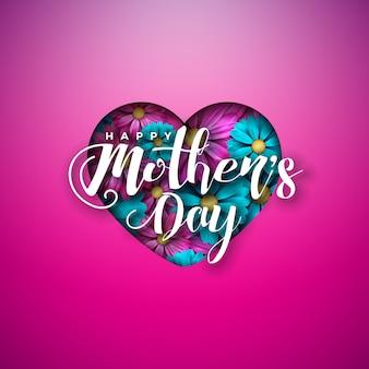 Diseño de tarjeta de felicitación del día de la madre feliz con flores en corazón y letra de tipografía sobre fondo rosa.