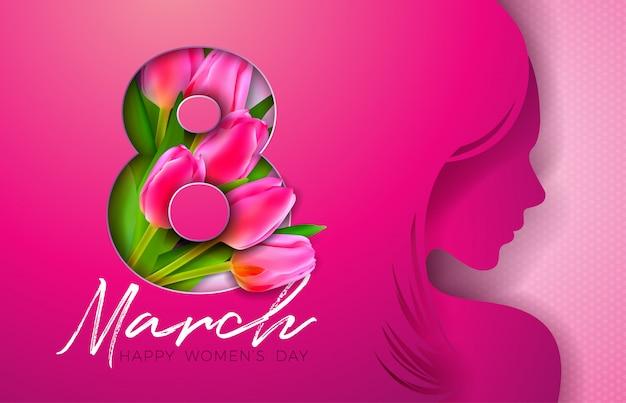 Diseño de tarjeta de felicitación del día de la mujer con silueta de mujer joven