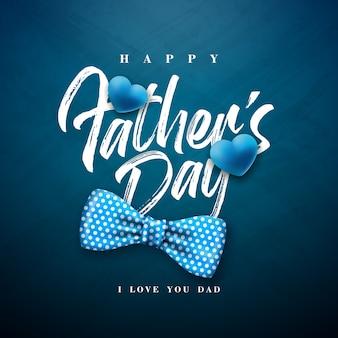 Diseño de tarjeta de felicitación del día del padre feliz con pajarita punteada y letra de tipografía