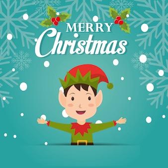 Diseño de tarjeta de felicitación de dibujos animados de feliz navidad con duende