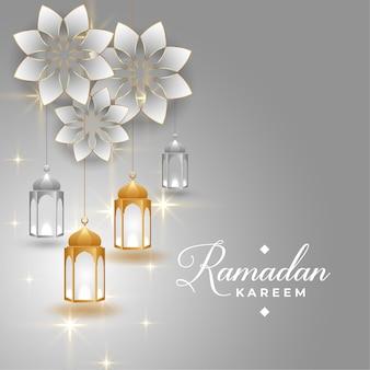 Diseño de tarjeta de felicitación dorada y plateada de ramadan kareem