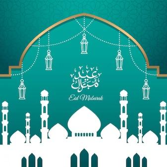 Diseño de tarjeta de felicitación eid mubarak con mezquita de silueta