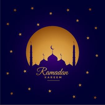 Diseño de tarjeta de felicitación elegante ramadan kareem