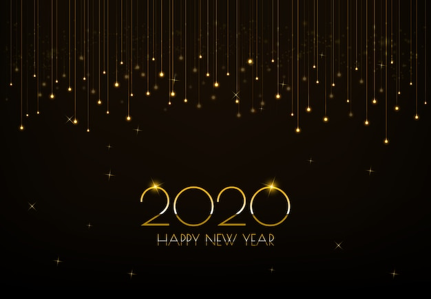 Diseño de tarjeta de felicitación de feliz año nuevo 2020 con cortina de luces doradas brillantes