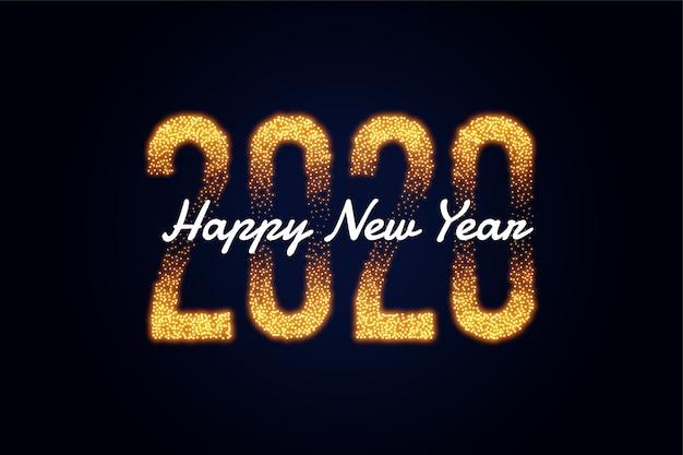 Diseño de tarjeta de felicitación de feliz año nuevo 2020 golden sparkles