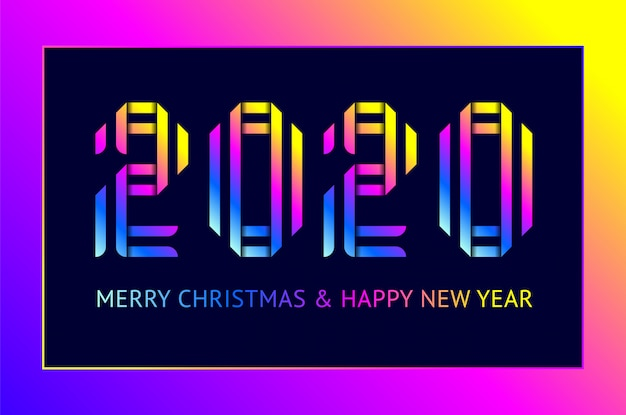 Diseño de tarjeta de felicitación de feliz año nuevo 2020