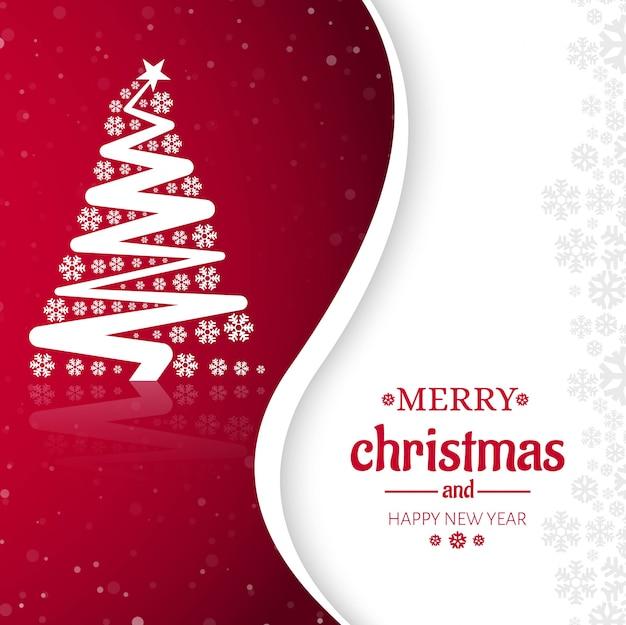 Diseño de tarjeta de felicitación feliz celebración del árbol de navidad