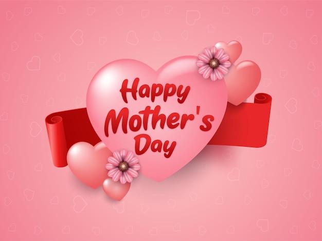 Diseño de tarjeta de felicitación feliz día de la madre con flor y corazón