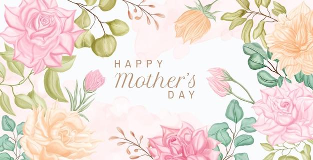 Diseño de tarjeta de felicitación de feliz día de la madre con flores de acuarela