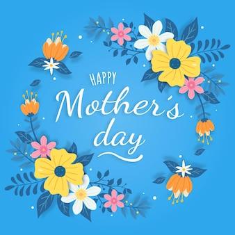 Diseño de tarjeta de felicitación de feliz día de la madre con flores y tipografía