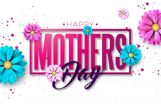 Diseño de tarjeta de felicitación feliz día de las madres con flor y letra de tipografía sobre fondo rosa.