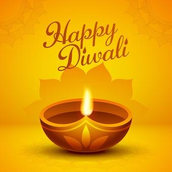 Diseño de tarjeta de felicitación feliz diwali