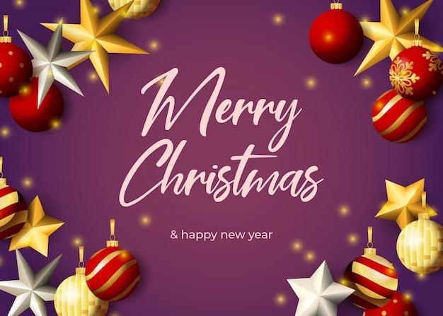 Diseño de tarjeta de felicitación de feliz navidad con estrellas plateadas