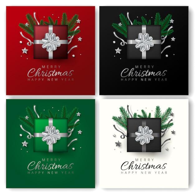 Diseño de tarjeta de felicitación de feliz navidad y feliz año nuevo con vista superior de estrellas