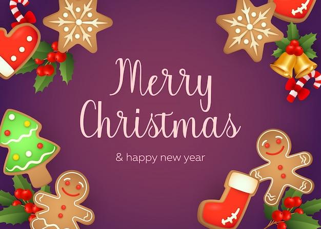 Diseño de tarjeta de felicitación de feliz navidad con hombre de jengibre
