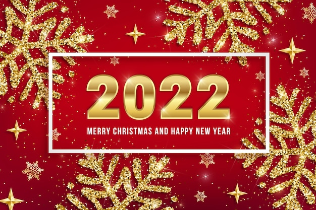 Diseño de tarjeta de felicitación de feliz navidad y próspero año nuevo 2022 con números de fecha dorados, copos de nieve de brillo dorado y estrellas brillantes sobre fondo rojo. ilustración de vector para web, banner de navidad, correo electrónico, folleto