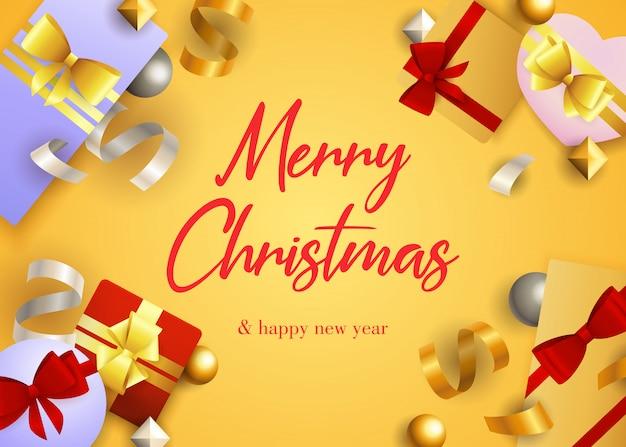 Diseño de tarjeta de felicitación de feliz navidad con regalos