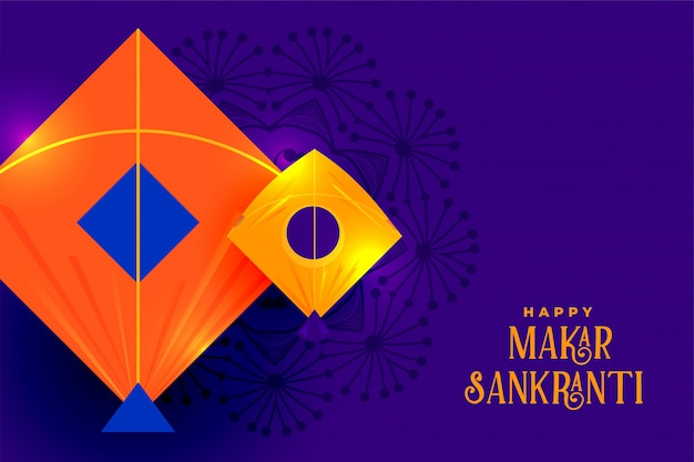 Diseño de tarjeta de felicitación festival de cometas indias makar sankranti