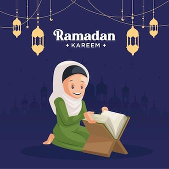 Diseño de tarjeta de felicitación del festival islámico ramadán kareem con mujer musulmana leyendo el libro del corán