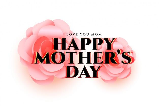 Diseño de tarjeta de felicitación de la flor del día de madre