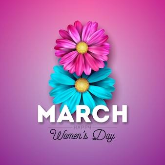 Diseño de tarjeta de felicitación floral del día de la mujer feliz