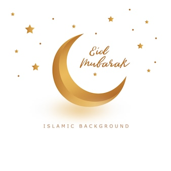 Diseño de tarjeta de felicitación islámica eid mubarak con estrella y luna