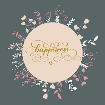 El diseño de la tarjeta de felicitación con letras felicidad es ... ilustración del vector.
