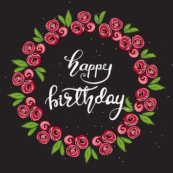 Diseño de tarjeta de felicitación con letras feliz cumpleaños. ilustración vectorial