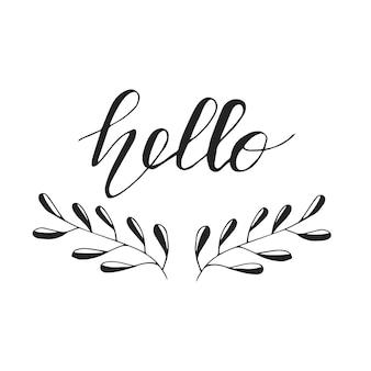 Diseño de tarjeta de felicitación con letras hola. ilustración vectorial