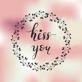 Diseño de tarjeta de felicitación con letras kiss you. ilustración vectorial