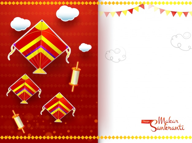 Diseño de tarjeta de felicitación makar sankranti decorado con cometas, carrete