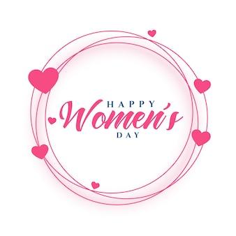 Diseño de tarjeta de felicitación de marco de corazones de feliz día de la mujer
