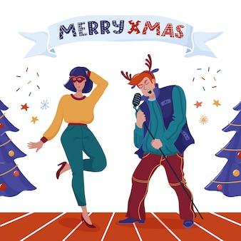 Diseño de tarjeta de felicitación merry xmas con hombre grande con cuernos de reno cantando en el micrófono como estrella de la música rock, linda mujer con baile de máscaras, árboles de navidad y texto en la cinta