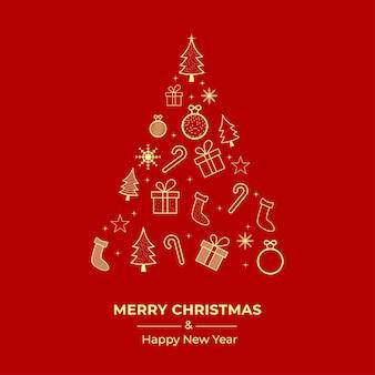 Diseño de tarjeta de felicitación de navidad con árbol de navidad. tarjeta de navidad con adornos dorados. caja de regalo. banner de redes sociales con el pino, bastón de caramelo, calcetín sobre un fondo rojo. banner de navidad, tarjeta de navidad