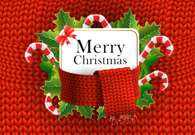 Diseño de tarjeta de felicitación de navidad feliz. bastones de caramelo