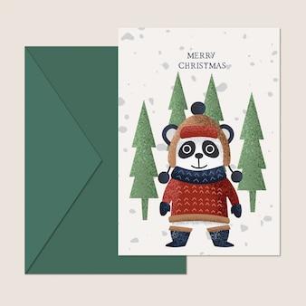 Diseño de tarjeta de felicitación de navidad panda