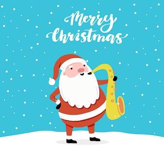 Diseño de tarjeta de felicitación de navidad con personaje de dibujos animados de santa claus, elementos de diseño hechos a mano, letras qoute feliz navidad.