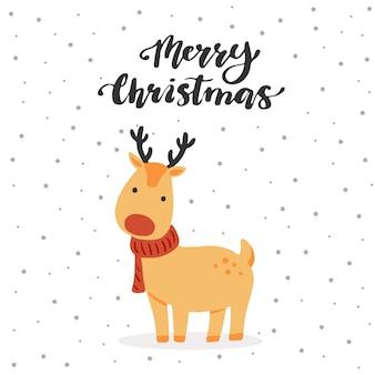 Diseño de tarjeta de felicitación de navidad con personaje de renos de dibujos animados, elementos de diseño dibujados a mano, letras qoute feliz navidad.