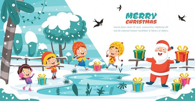 Diseño de tarjeta de felicitación de navidad con personajes de dibujos animados