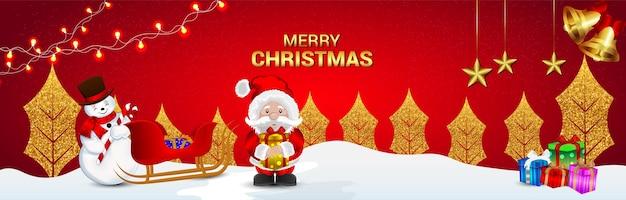 Diseño de tarjeta de felicitación navideña con santa creativo y adornos con regalo
