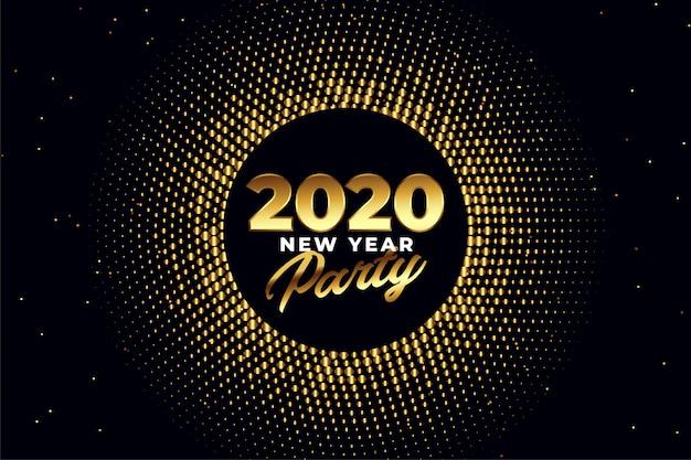 Diseño de tarjeta de felicitación de oro brillante de fiesta de año nuevo 2020