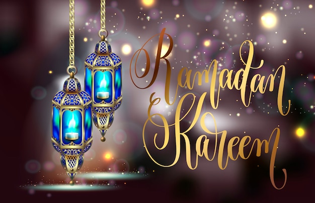 Diseño de tarjeta de felicitación de ramadan kareem con luces de noche