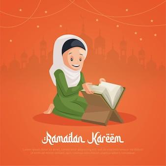 Diseño de tarjeta de felicitación de ramadán kareem