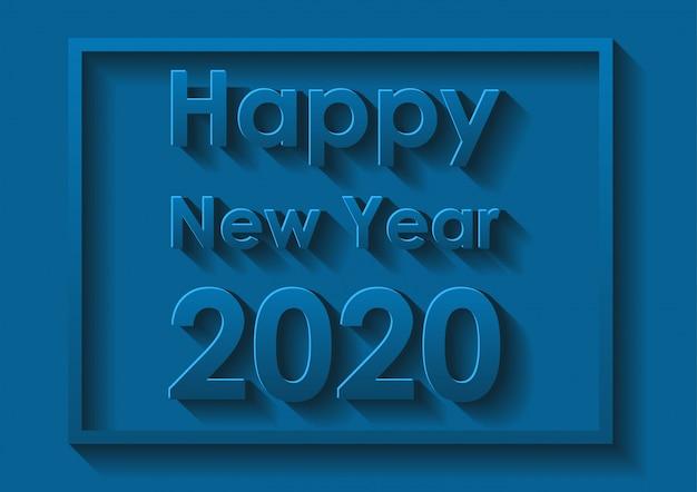 Diseño de la tarjeta feliz año nuevo en azul